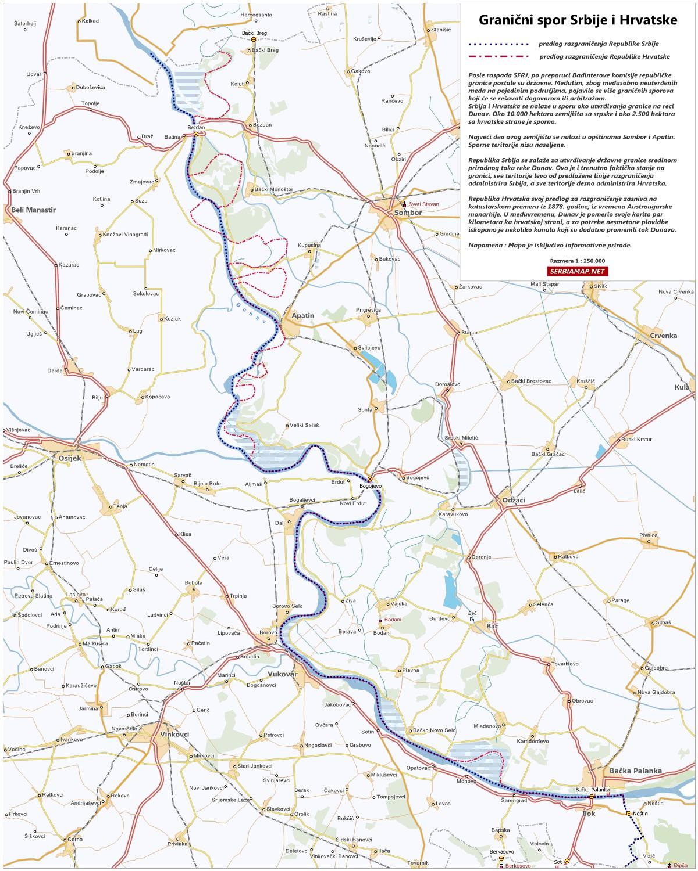 dunav srbija mapa Serbiamap.Net: Granični spor Srbije i Hrvatske na reci Dunav dunav srbija mapa