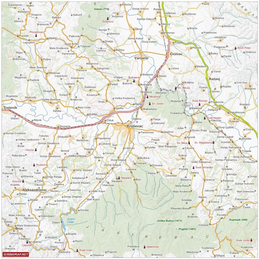 Map of Kruševac area