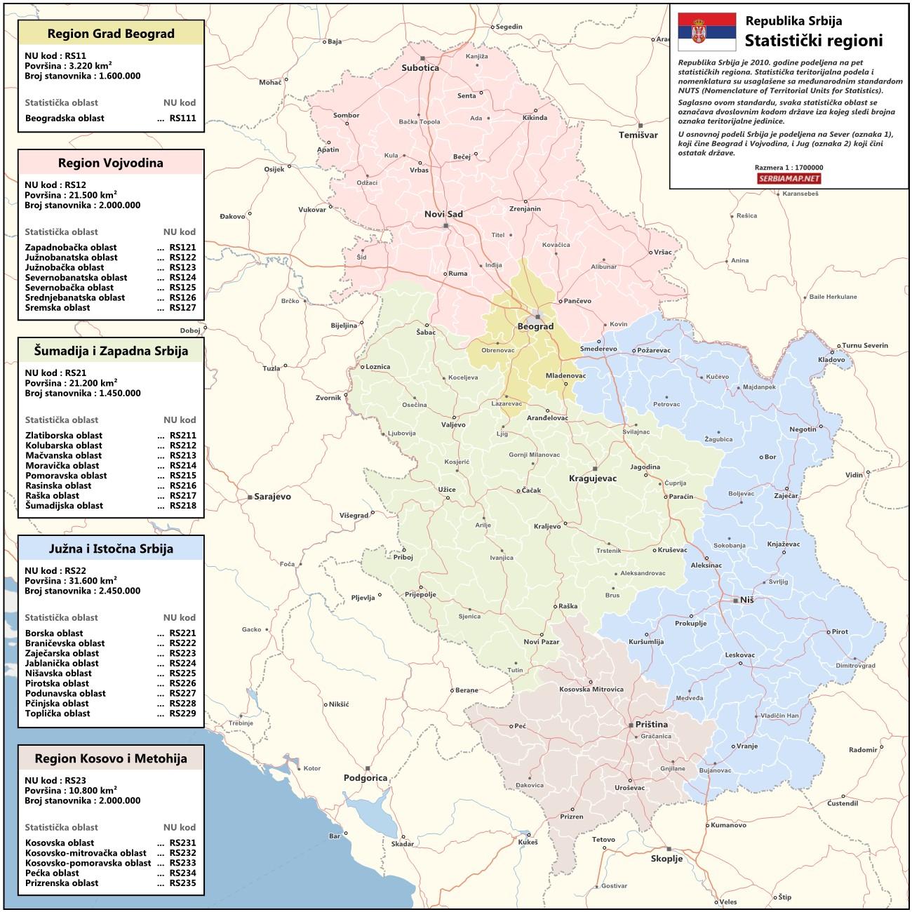 regioni srbije karta Serbiamap.Net: Mapa statističkih regiona Srbije regioni srbije karta